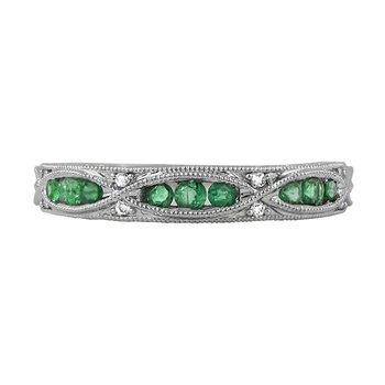14 Karat White Gold Emerald and Diamond Vintage Stacker Band