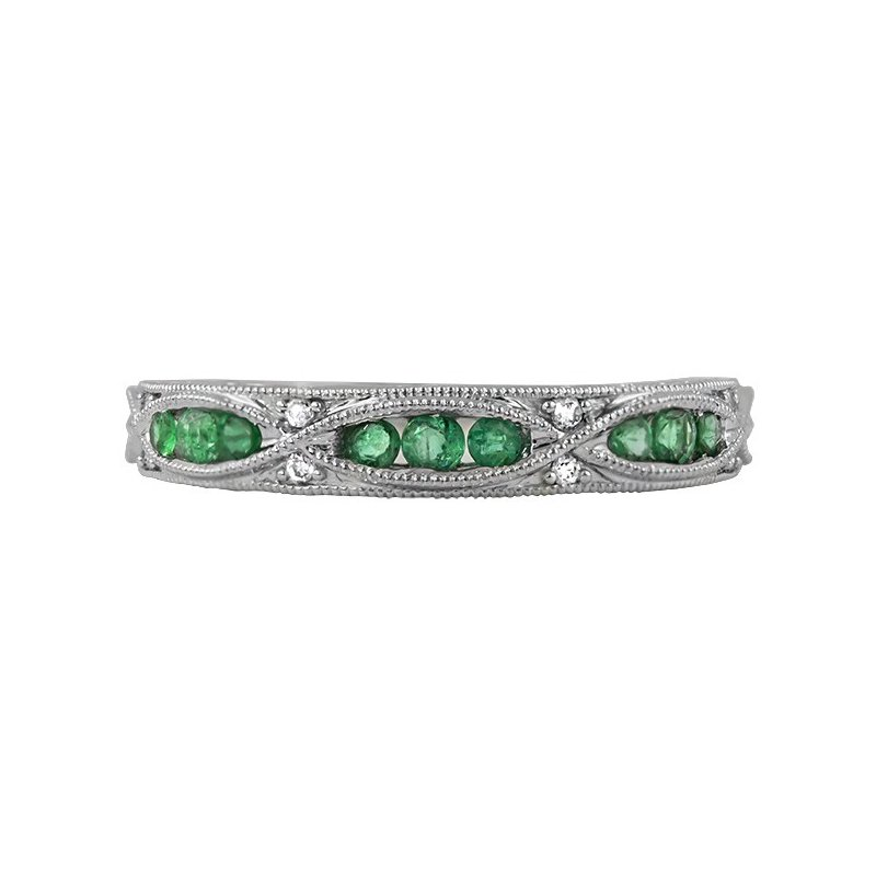 Rego Designs 14 Karat White Gold Emerald and Diamond Vintage Stacker Band
