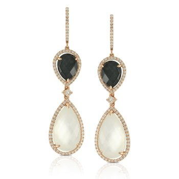 18 Karat Yellow Gold Mother of Pearl and Hematite with White Topaz Overlay Dangle Diamond Earrings