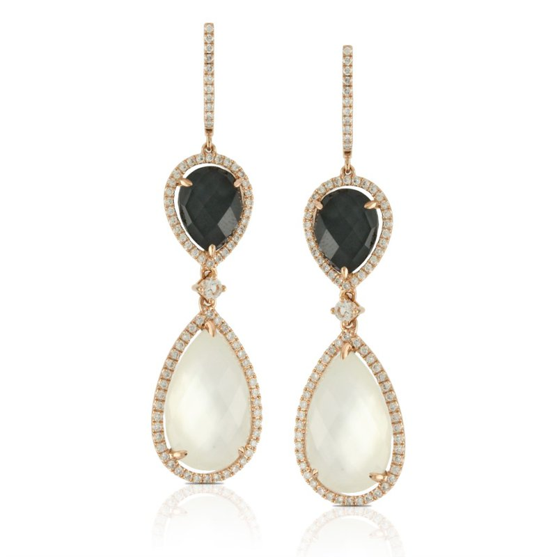 Corinth Collections  18 Karat Yellow Gold Mother of Pearl and Hematite with White Topaz Overlay Dangle Diamond Earrings