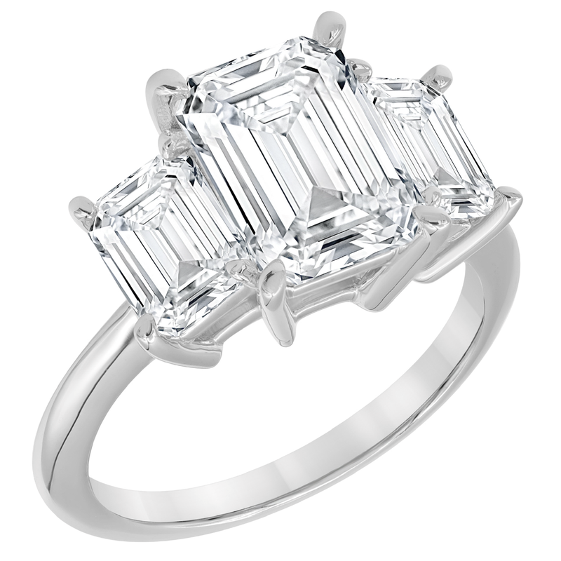 Corinth Collections  18 Karat White Gold Three Stone Emerald Cut Diamond Engagement Ring with Polished Shank