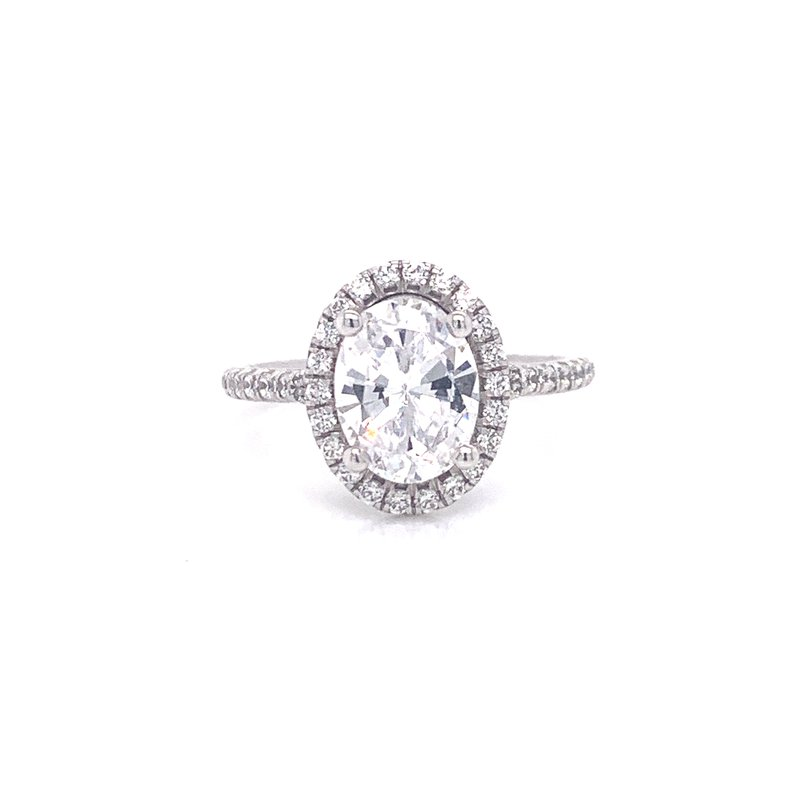 Corinth Collections  14K White Gold Oval with Diamond Halo Semi Mount