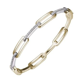 Sterling Silver and Gold Plated Link Hinged Bangle