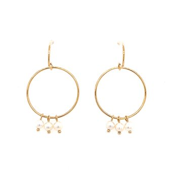 14 Karat Yellow Gold Small Hoop with Fresh Water Pearl Dangles