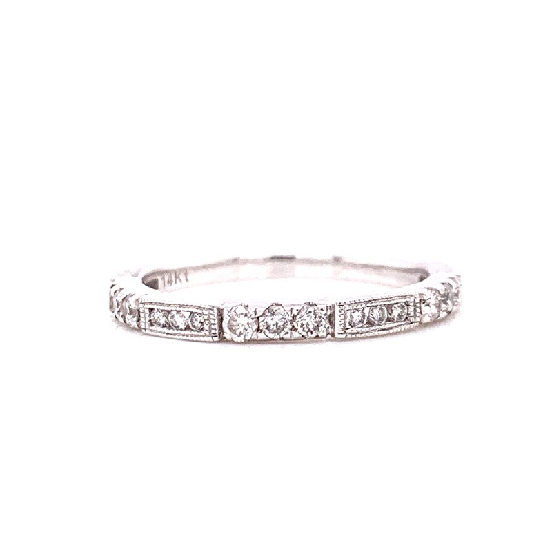 Corinth Collections  14K White Gold Round Channel Set Diamond Band