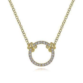 14 Karat Yellow Gold Open Diamond Circle Necklace