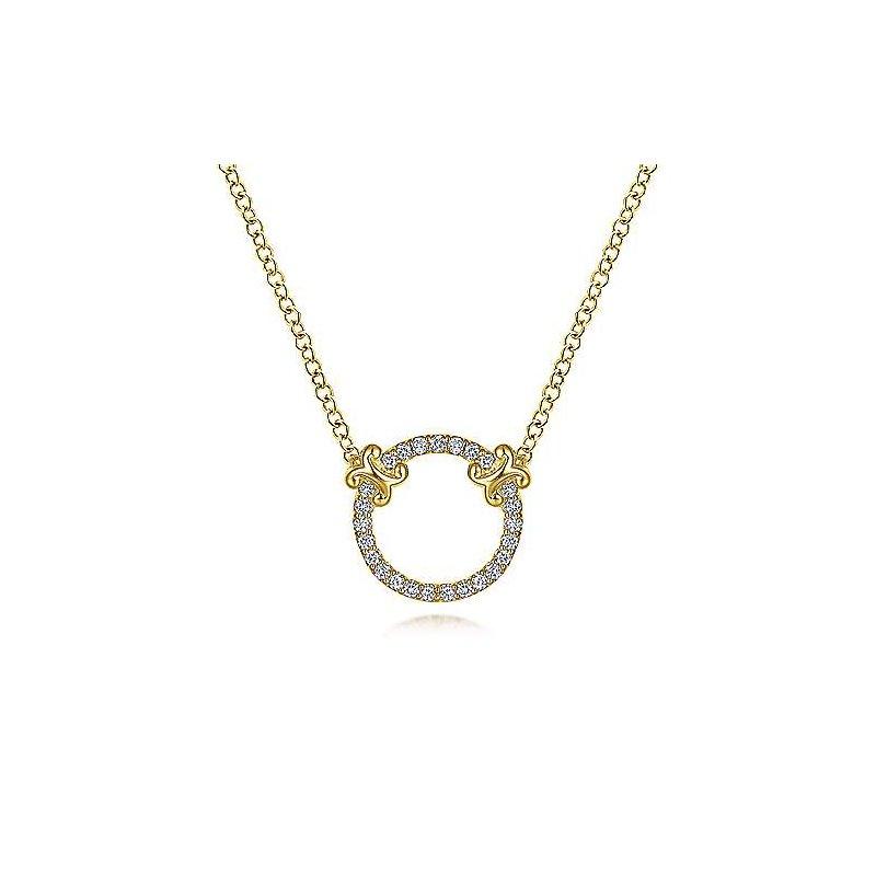 Gabriel 14 Karat Yellow Gold Open Diamond Circle Necklace