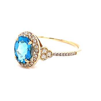 14 Karat Yellow Gold Oval Cut Blue Topaz with Diamond Halo Vintage Fashion Ring