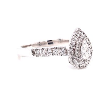 14 Karat White Gold Pear Center with Double Diamond Halo and Shank Engagement Ring