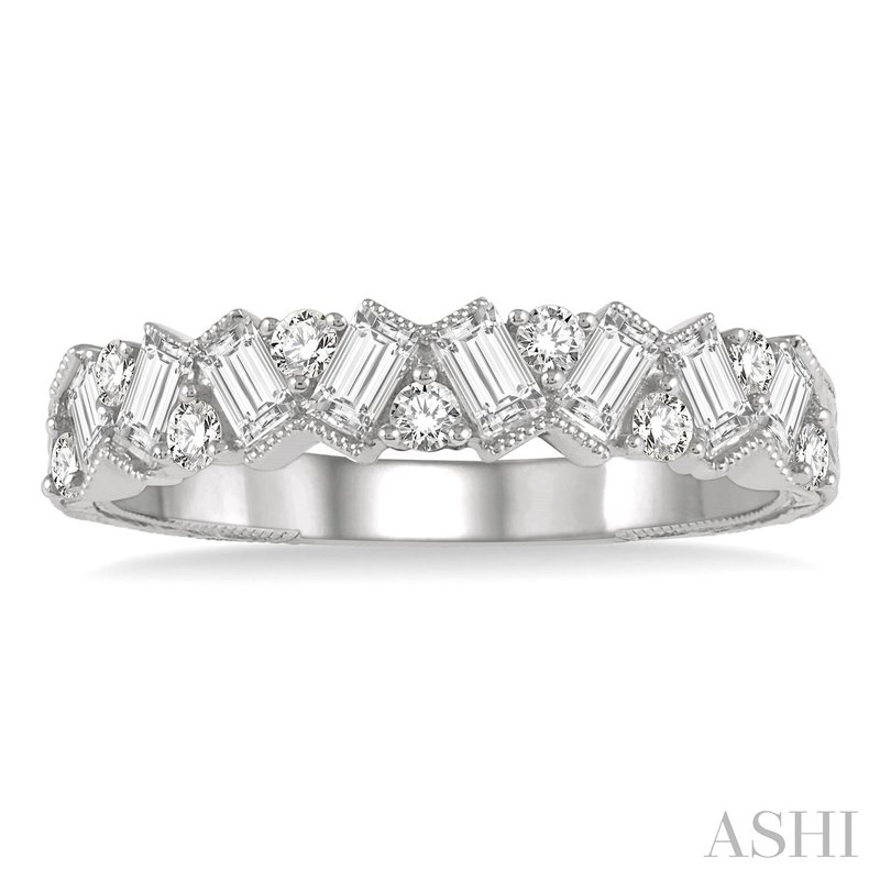Ashi Diamonds 14 Karat White Gold Round and Baugette Alternating Diamond Stacker Band