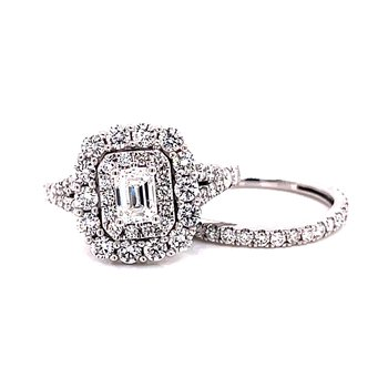14 Karat White Gold Emerald Cut Center Stone with Double Diamond Halo and Diamond Shank Engagement Ring with Matching Diamond Band
