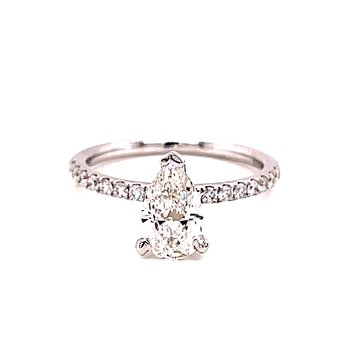 14 Karat White Gold Pear Cut Diamond Solitaire Engagement Ring with Diamond Shank