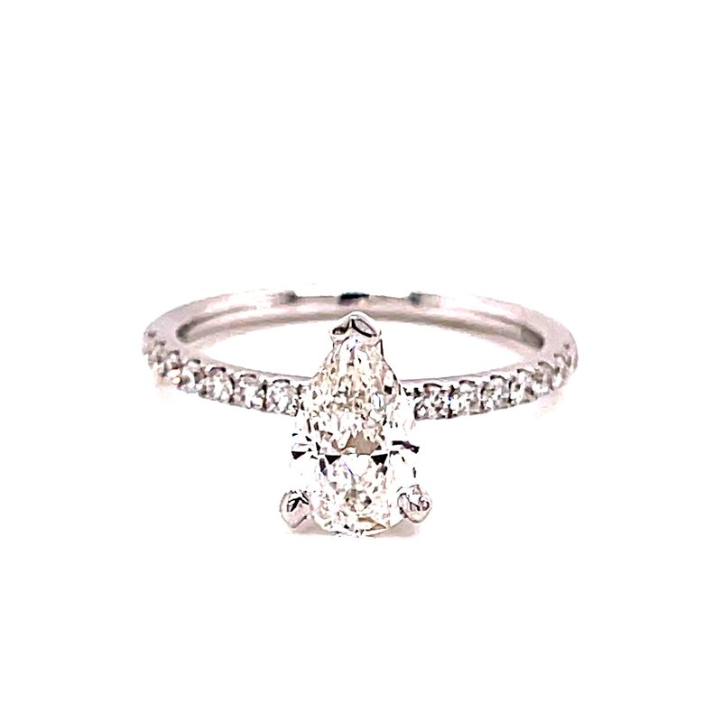Corinth Collections  14 Karat White Gold Pear Cut Diamond Solitaire Engagement Ring with Diamond Shank