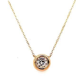 14 Karat Yellow Gold Single Bezel Set Diamond Necklace