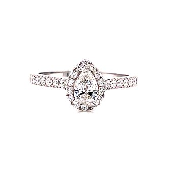 14 Karat White Gold Pear Cut Center with Diamond Halo Engagement Ring