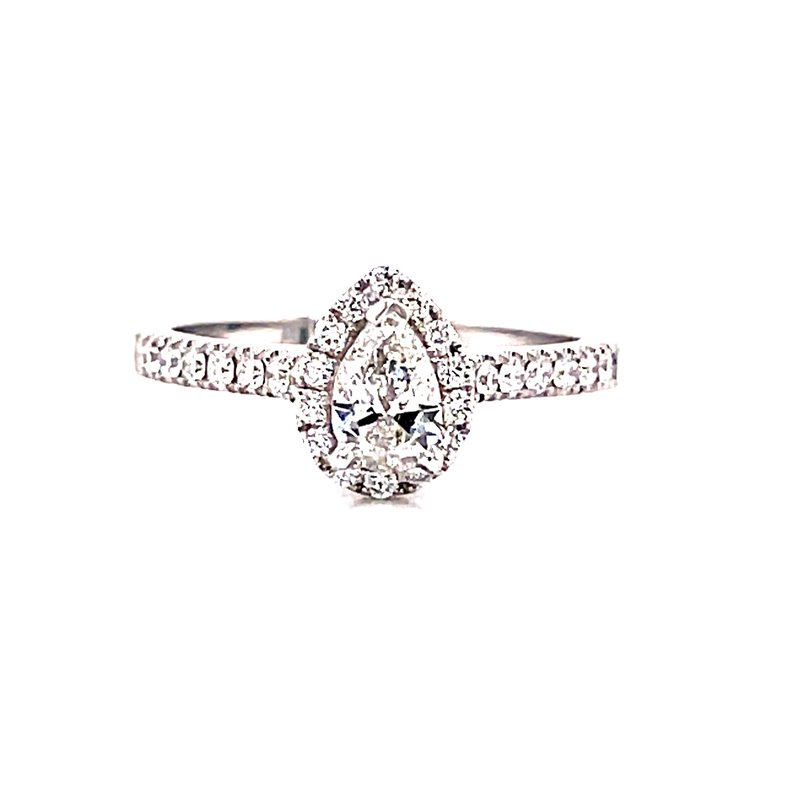 Corinth Collections  14 Karat White Gold Pear Cut Center with Diamond Halo Engagement Ring