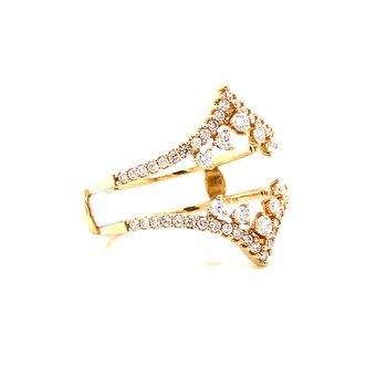 14 Karat Yellow Gold Vintage V-Style Diamond Ring Guard