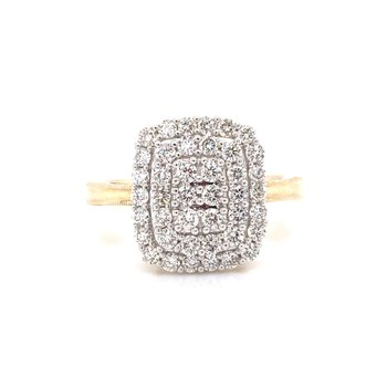 14K Yellow Gold Illusion with Double Halo Diamond Ring