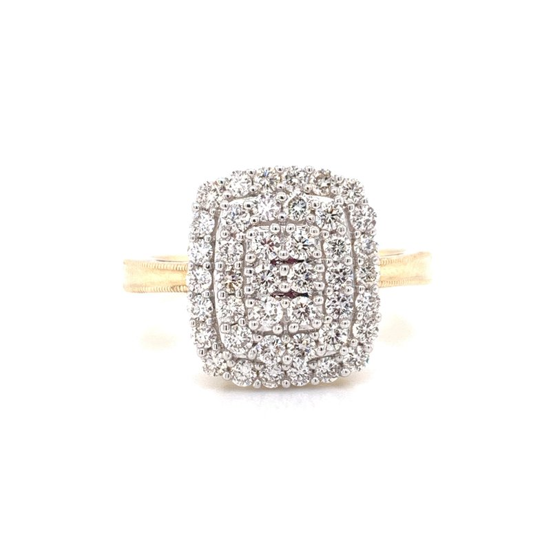Corinth Collections  14K Yellow Gold Illusion with Double Halo Diamond Ring