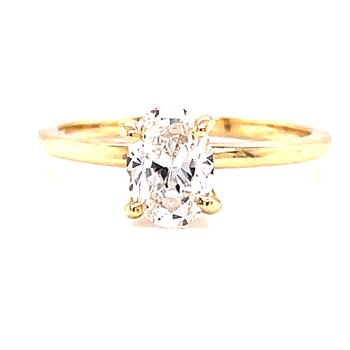 14 Karat Yellow Gold Oval Cut Solitaire Engagement Ring with Polished Shank