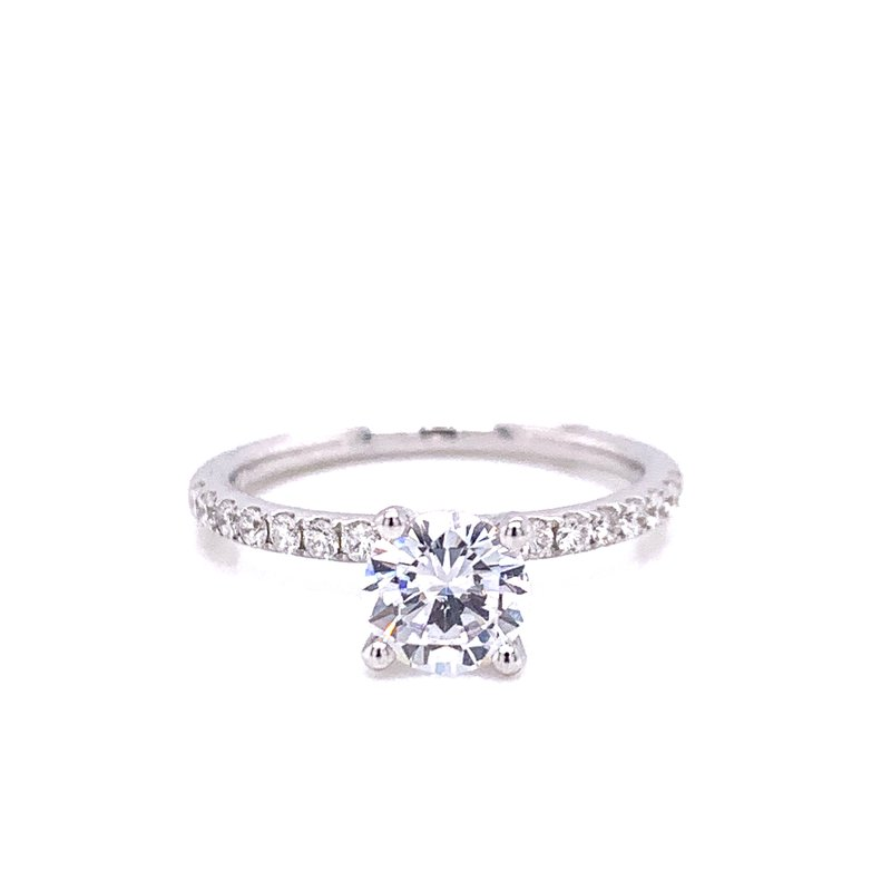 Corinth Collections  14 Karat White Gold 4-Prong Round Solitaire Engagement Ring with Diamonds on Shank