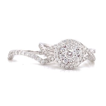 14K White Gold Illusion Round Center with Diamond Halo and Infinity Shank