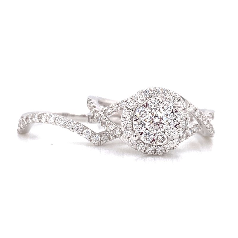 Corinth Collections  14K White Gold Illusion Round Center with Diamond Halo and Infinity Shank