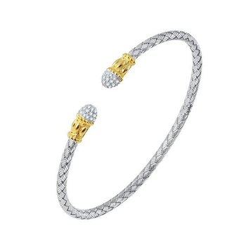 Sterling Silver and Gold Plated Weaved Cuff with CZ Tips