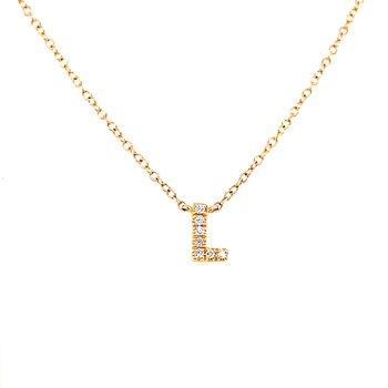 "14 Karat Yellow Gold Initial ""L"" Diamond Necklace"