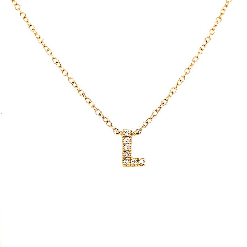 "Gabriel 14 Karat Yellow Gold Initial ""L"" Diamond Necklace"