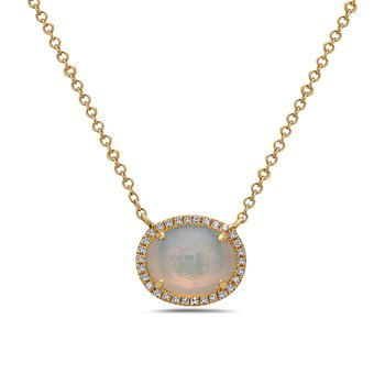 14 Karat Yellow Gold Oval Cut Opal with Diamond Halo Necklace