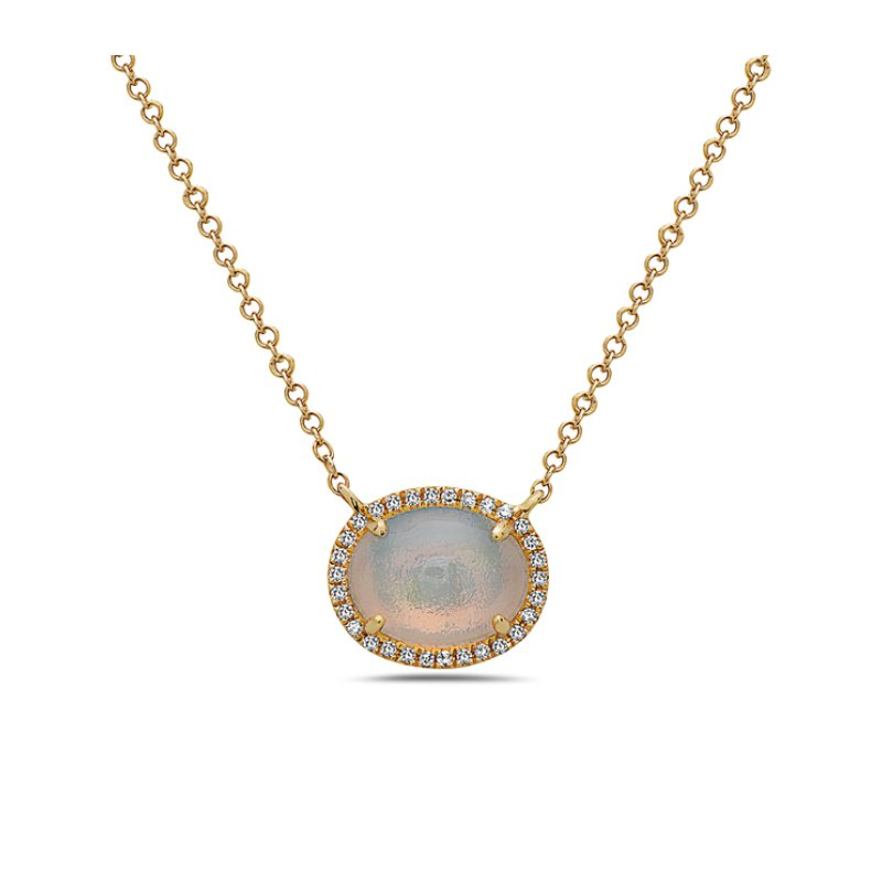Corinth Collections  14 Karat Yellow Gold Oval Cut Opal with Diamond Halo Necklace
