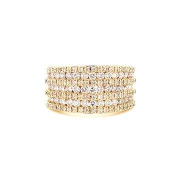 10 Karat Yellow Gold Round Diamond Wide Fashion Wedding Band