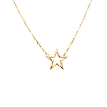 14 Karat Yellow Gold Open Star Necklace with Adjustable Chain