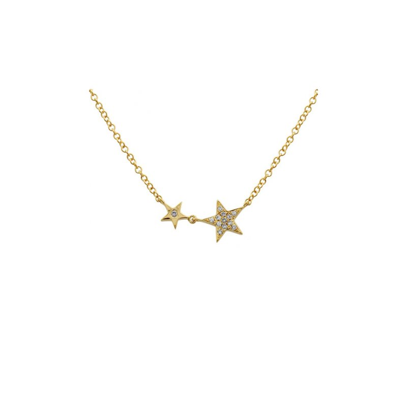 Corinth Collections  14 Karat Yellow Gold Double Diamond Star Necklace