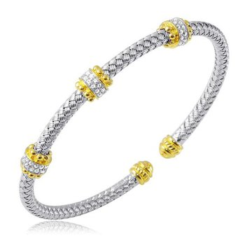 Sterling Silver and Gold Plating Cuff Bracelet with Two Tone and CZ Accent