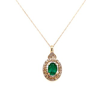 10 Karat Yellow Gold Oval Cut Emerald with Baguette and Round Diamonds Halo Fashion Necklace