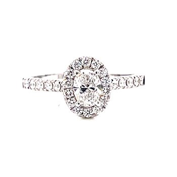 14 Karat White Gold Oval Cut Center Stone with Diamond Halo Engagement Ring