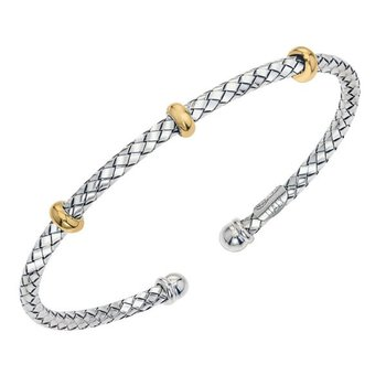 18 Karat Yellow Gold and Sterling Silver Traversa Cuff Bracelet with Triple Gold Rondells