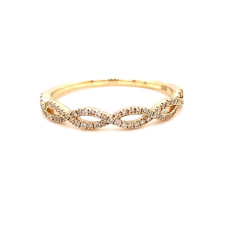 Corinth Collections  14 Karat Yellow Gold Infinity Diamond Stacker Band