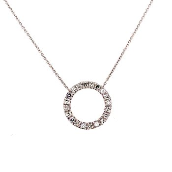 10 Karat White Gold Round Diamond Circle Necklace