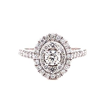 14 Karat White Gold Oval Cut Center Stone with Double Diamond Halo Engagement Ring with Matching Diamond Band