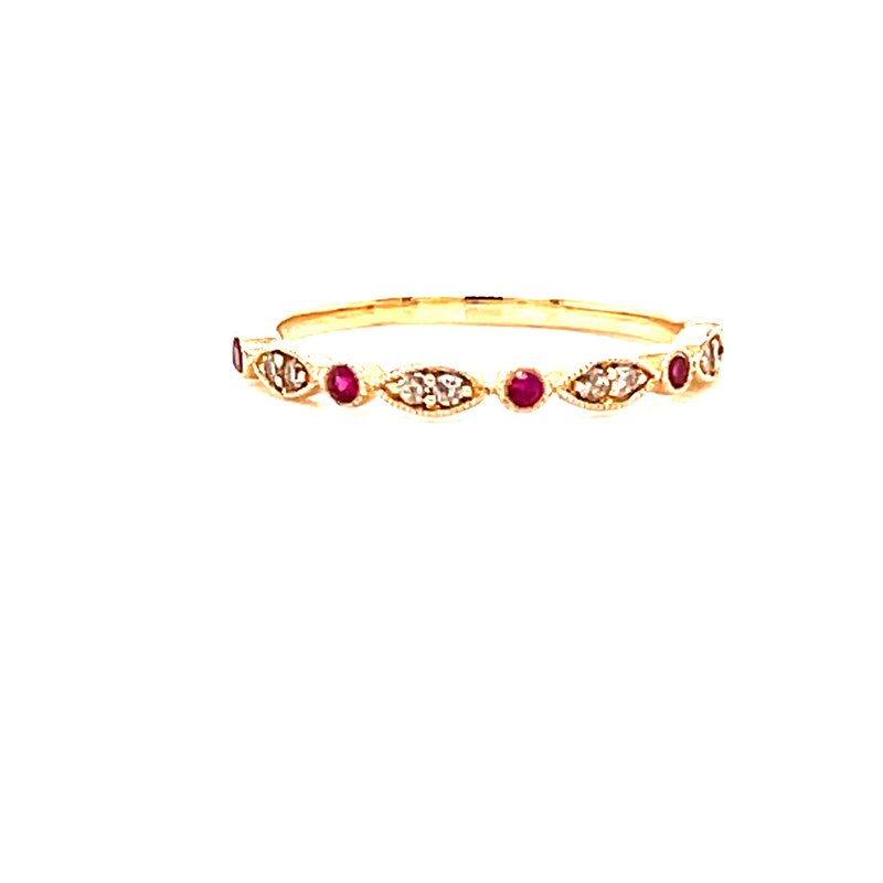 Corinth Collections  14 Karat Yellow Gold Round and Marquis Diamond Stacker Band