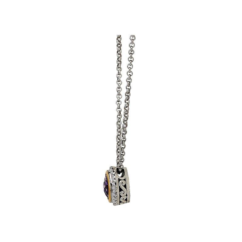 Kim International Eleganza Halo Necklace with Diamonds and Amethyst