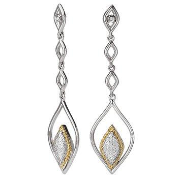 Eleganza Ladies Marquise Pave Diamond Earrings