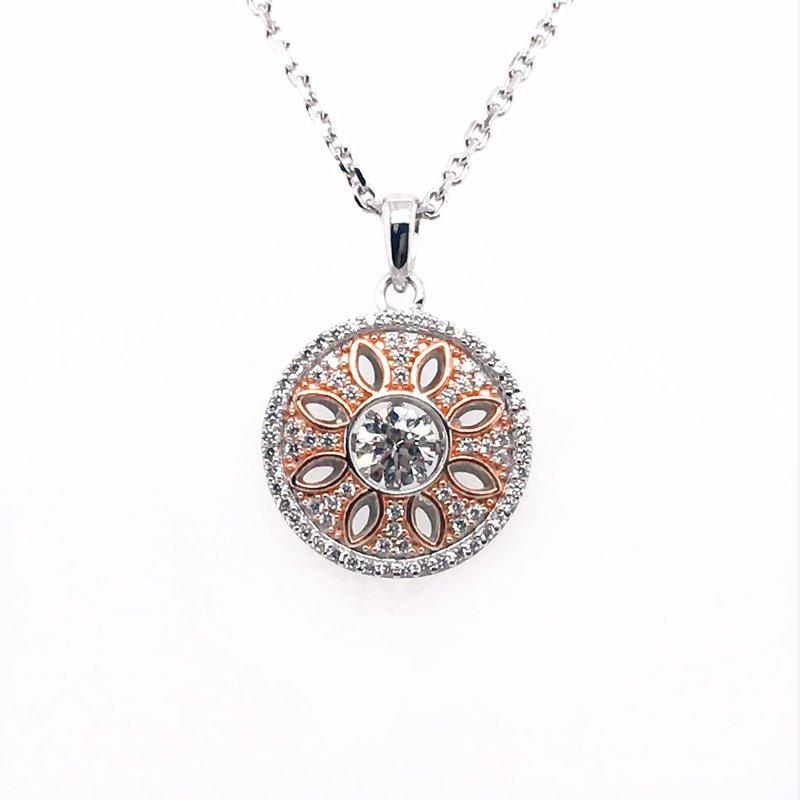 Gems One Diamond Pendant with Center Round Diamond