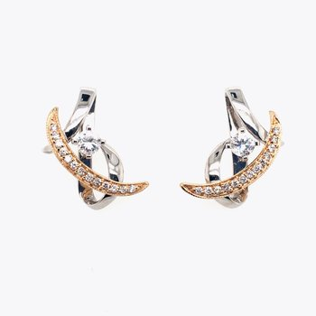 White and Yellow Gold Cubic Zirconia and Diamond Stud Drop Earrings