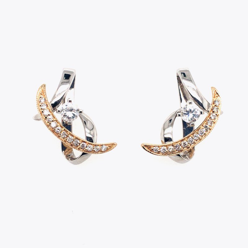 Frank Reubel White and Yellow Gold Cubic Zirconia and Diamond Stud Drop Earrings