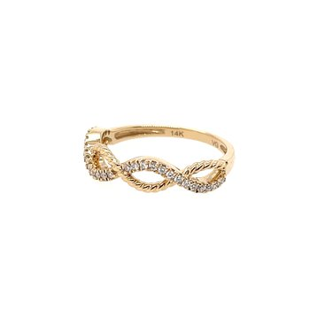 Round Diamonds In A Twist Band Ring