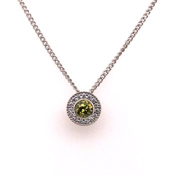 Kelly Waters Round Simulated Peridot Gem Pendant With Simulated Diamonds